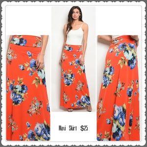 Dresses & Skirts - ⭐️Orange Floral Maxi Skirt⭐️